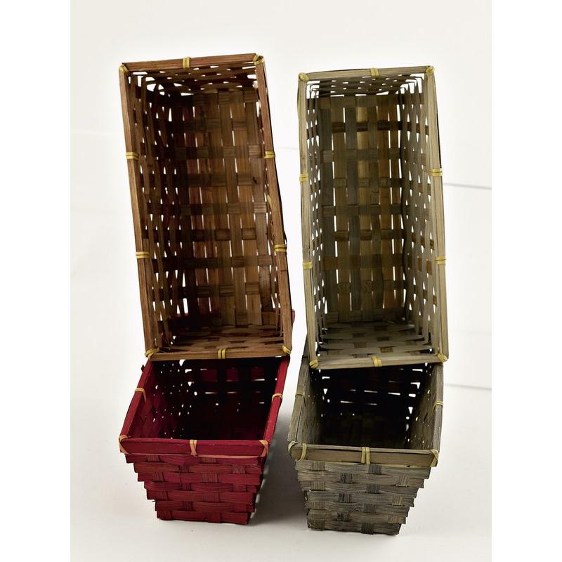 Corbeille bambou rect. 25x19 H9 4 couleurs