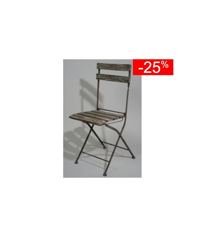 chaise bois/métal d40 h93 gris blanchi