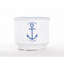 CAPTAIN - Cache-pot ciment D8.5 x H7 Blanc/bleu Marin