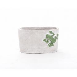 Jardinière ciment Grenouille 16.5x9.5 h9.5cm