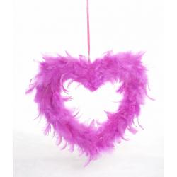 Coeur en plumes d20 cm Fuchsia
