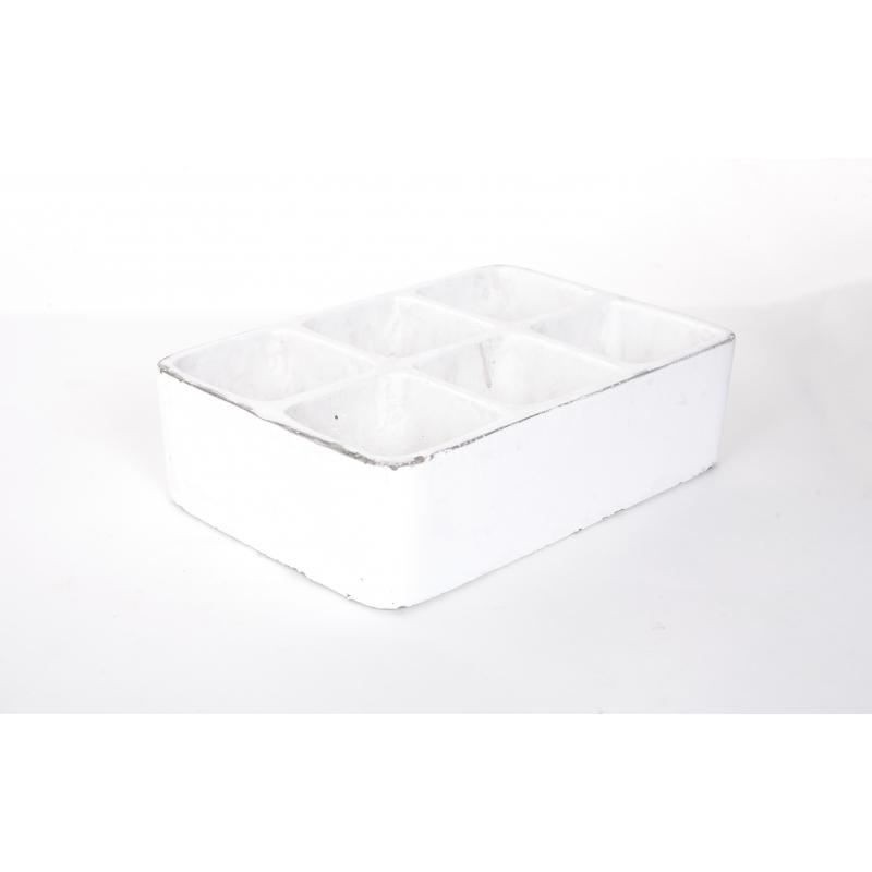 Céramique Blanc 6 Plantes 22 x 14.5 x h7cm