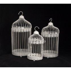 Série De 3 Cages Blanches Paillettes