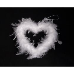 Coeur en plumes d20 cm Blanc