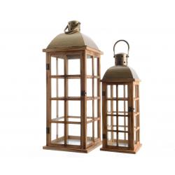 Lanterne en Bois avec Anse 19X19X52cm