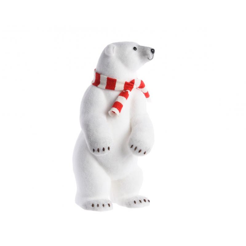 Ours Polaire Debout Blanc avec Echarpe 28x33x65 cm