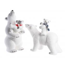 Ours Polaire Blanc + Echarpe avec son Petit
