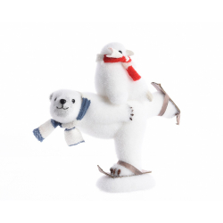 Ours Polaire Blanc+Echarpe avec son Petit +Ski 12x26x27 cm