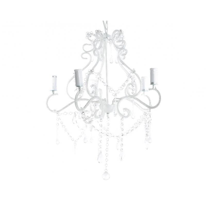 Chandelier Blanc en fer 5 Bras 52x52x60 cm