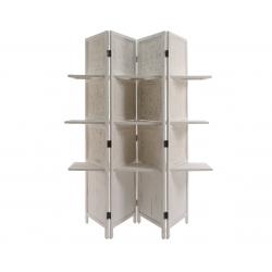 Paravent en Bois Blanc + 3 Etagères 156 x 180 cm