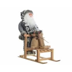Père Noel sur Luge en Bois 45x15x45 cm