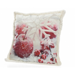 Coussin Velours Blanc /Rouge Flocon Neige 45x45 cm