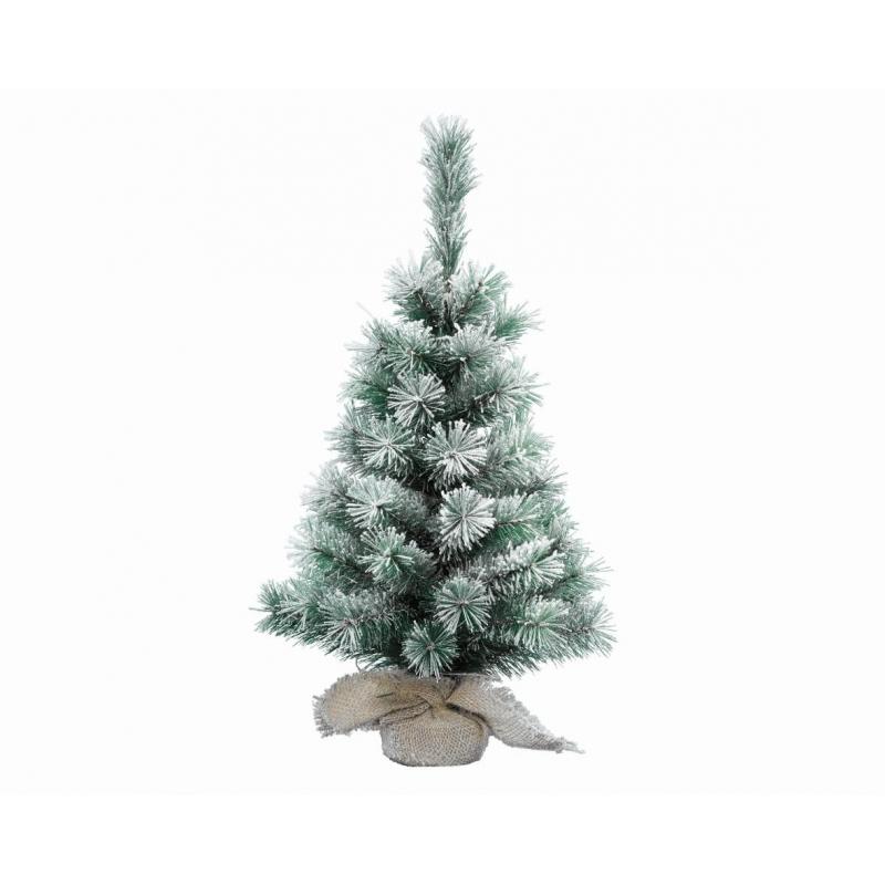 Mini Sapin Vert/Blanc Enneigé sur socle Jute h 45 cm