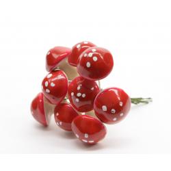 Piques Champignons sur Piques Rouge/ Blanc 2x2 cm par 144