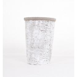 Vase en Ciment Blanchi d 14.5 x h 20 cm