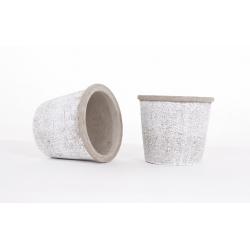 Cache Pot Ciment Blanchi d 14.5 x h 13 cm
