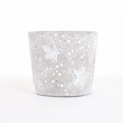 Pot Rond Ciment Etoile Argent d12 x h11 cm