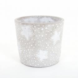 Pot Rond Ciment Etoile Argent d17 x h14,5 cm