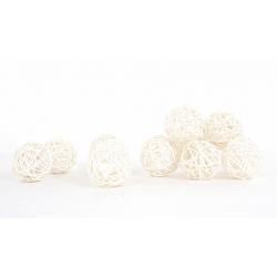 Boule de Rotin d6 cm Blanc par 12