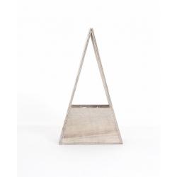 Contenant Bois Gris Triangle 16.7 x 8 x 9 cm