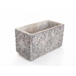 Jardinière Ciment Arabesque Brun 30 x 15 x h17 cm