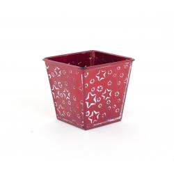Cache Pot Carré Zinc Rouge avec Etoiles Blanches 8 x 8 x h 8 cm