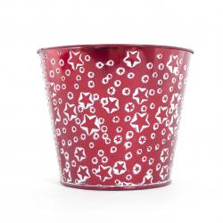 Cache Pot en Zinc Rouge avec Etoiles Blanches d 16 x h 13.5 cm