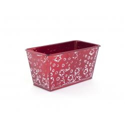 Jardinière Zinc Rouge avec Etoiles Blanches 15 x 8 x h 8 cm