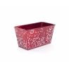 Jardinière Zinc Rouge avec Etoiles Blanches 15x8x h8cm