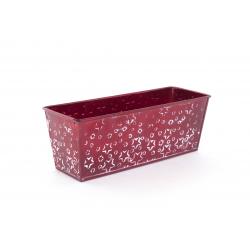 Jardinière Zinc Rouge avec Etoiles Blanches 22 x 8 x h 8 cm