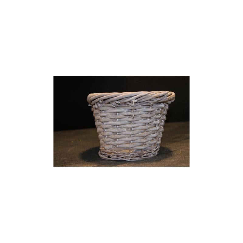 Cache-pot osier gris D22 H18 cm