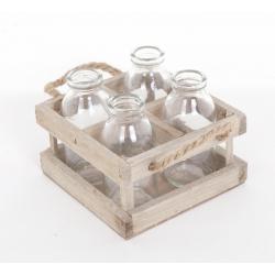 4 Bouteilles en verre avec Support Bois Carré