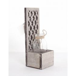 1 Vase en Verre + support Bois Gris H 17 x l 7 cm