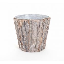 Cache Pot Ecorce Brute avec Zinc d15 x h12 cm