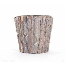 Cache Pot Ecorce Brute avec Zinc d18 x h15 cm