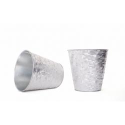 FACETTE - Cache Pot Blanc/Argenté D15 x H15 cm