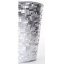 Cache Pot Design Facette Blanc/Argenté d15 x h 15 cm
