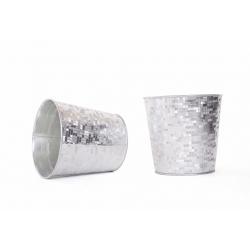 FACETTE - Cache Pot Blanc/Argenté D13 x H12,5 cm