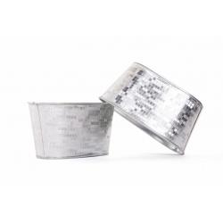 FACETTE - Jardinière Ovale Blanc/Argenté L15 x P8 x H7,5 cm