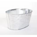 Jardinière Ovale Design Facette Blanc/Argenté 18 x 12 x h 9 cm