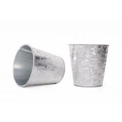 FACETTE - Cache Pot Blanc/Argenté D10,5 x H10.5 cm