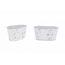 Jardinière Ovale en Zinc Blanc avec Etoiles Argentées 15 x 8 x h 7,5