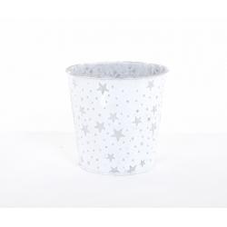 GABI - Cache-Pot Zinc D13 x H10 cm Blanc avec Etoiles Argentées