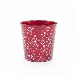 Cache Pot en Zinc  Rouge avec Etoiles Blanches d 13 x h 10 cm