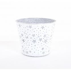GABI - Cache-Pot Zinc D16 x H13.5 cm Blanc avec Etoiles Argentées