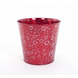 Cache Pot en Zinc Rouge avec Etoiles Blanches d 18 x h 16.5 cm