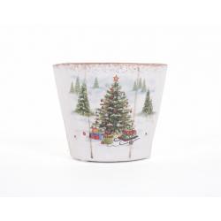 Cache-pot Céramique Sapin de Noel d 9.5 x h 8 cm