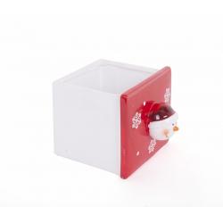 Pot Carré Bonhomme de Neige Rouge/Blanc d 13 x h 11.7 cm