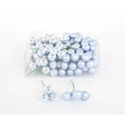 Boule Noël Bleu Artique 20mm sur fil par 144