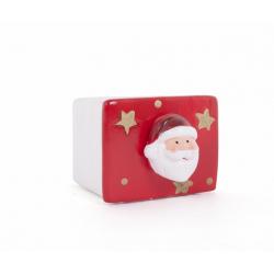 Pot Carré Père Noel Rouge/ Blanc 10 X 8.5x h 6.8 cm